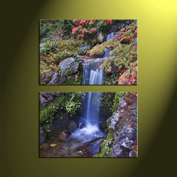 2 Piece Green Canvas Vertical Landscape Scenery Waterfall Art
