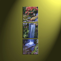 3 Piece Green Vertical Canvas Scenery Landscape Waterfall Pictures