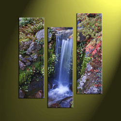 Home Decor, 3 piece canvas wall art,forest multi panel canvas, nature pictures, waterfall large pictures