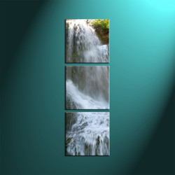 Triptych White Waterfall Scenery Vertical Group Canvas