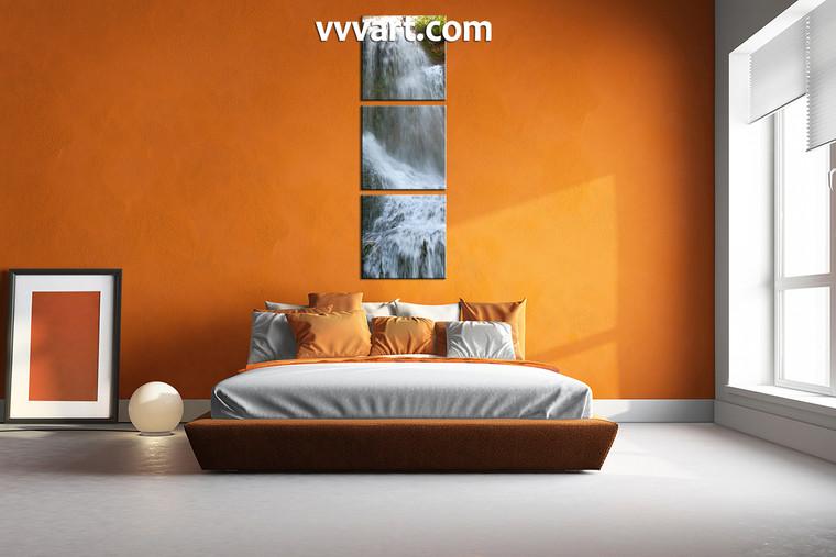 bedroom decor, 3 piece wall art, nature multi panel art, scenery art, waterfall canvas print