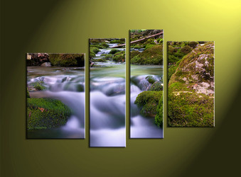 home decor, 4 piece canvas wall art, forest multi panel canvas, scenery canvas art, waterfall group canvas
