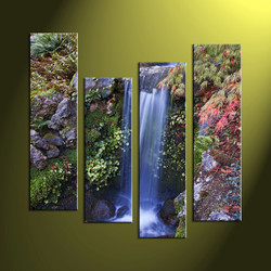 4 Piece Waterfall Green Scenery Photo Canvas