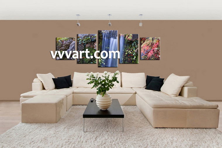 Living Room Decor, 5 piece canvas wall art, nature multi panel canvas, scenery art, forest large canvas