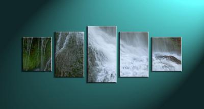 home decor,5 piece canvas art prints, nature canvas print, waterfall canvas print,  scenery large canvas