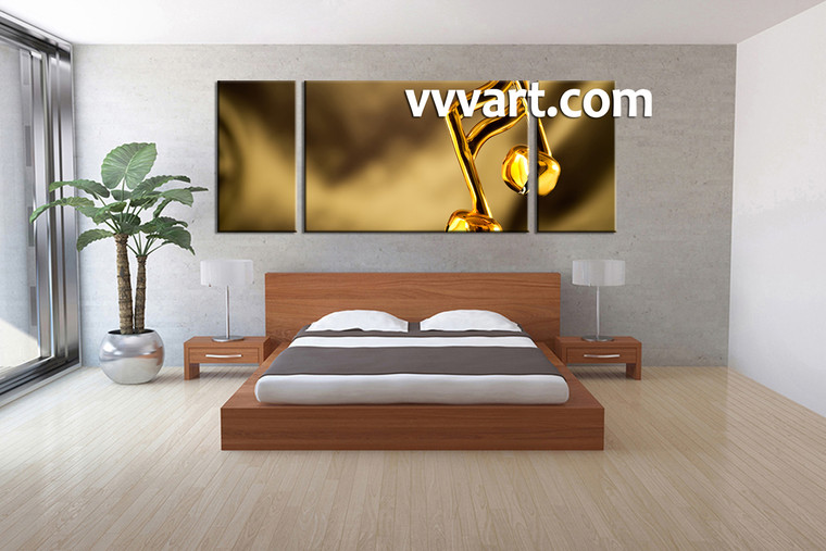 bedroom wall decor, 3 piece canvas wall art, golden multi panel canvas, note  huge pictures, music canvas print