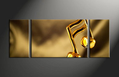 home decor, 3 piece canvas wall art, note multi panel canvas, gold canvas art, music group canvas