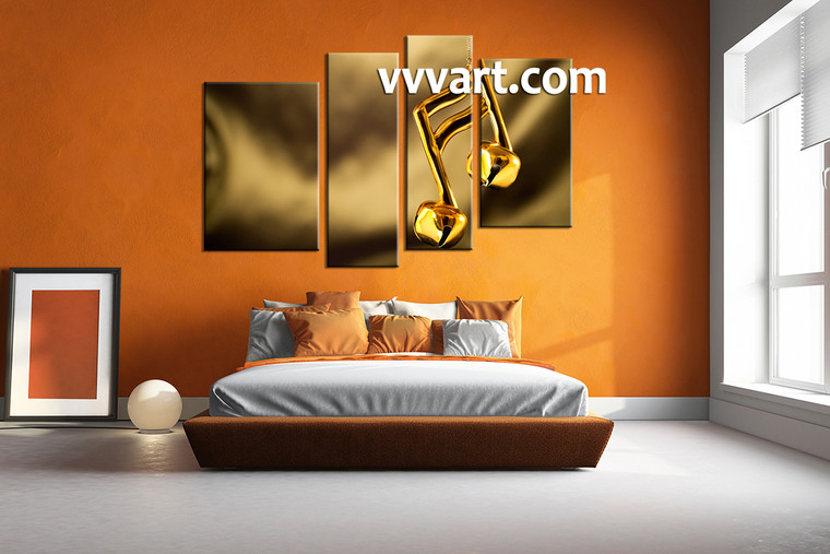 note canvas photography,bedroom wall art,4 piece canvas art prints, gold canvas print, music artwork