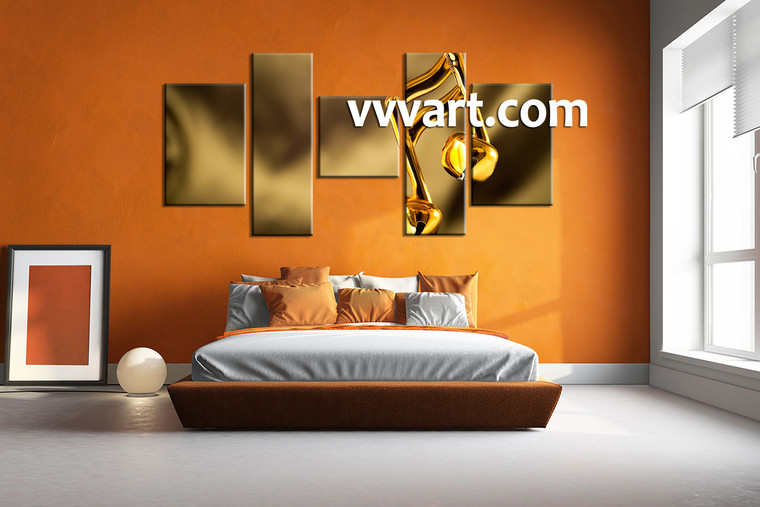 bedroom wall art,5 piece canvas art prints, note canvas print, music artwork, gold canvas photography