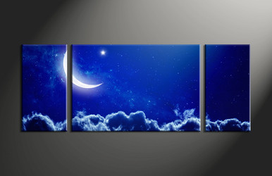 home decor, 3 piece canvas wall art, blue sky multi panel canvas, scenery canvas art, moon group canvas