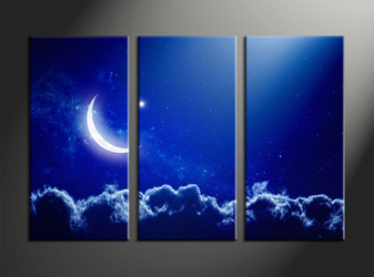 moon group canvas, home decor, 3 piece canvas wall art, blue sky multi panel canvas, scenery canvas art