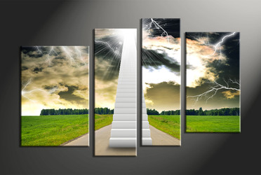 4 piece canvas wall art, forest multi panel canvas, scenery canvas art, stairs group canvas, home decor