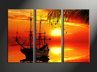 Home Decor, 3 Piece Wall Art, scenery multi panel art, scenery canvas wall art, ocean multi panel art