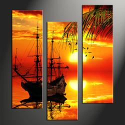 Home Decor, 3 Piece Wall Art, landscape multi panel art, scenery canvas wall art, ship canvas print