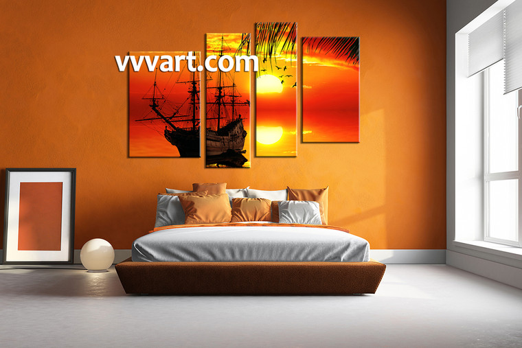 Bedroom Wall art, 4 Piece Wall Art, ocean multi panel art, scenery canvas photography, landscape large pictures