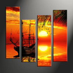 Home Decor, 4 piece canvas wall art,Scenery multi panel canvas, sunset huge canvas art, ocean wall art