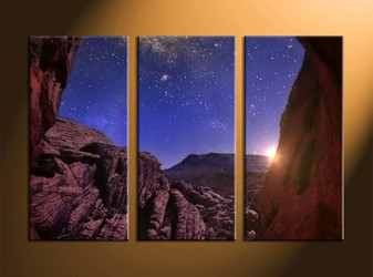 home decor, 3 piece canvas wall art, mountain multi panel canvas, scenery canvas art, stars group canvas