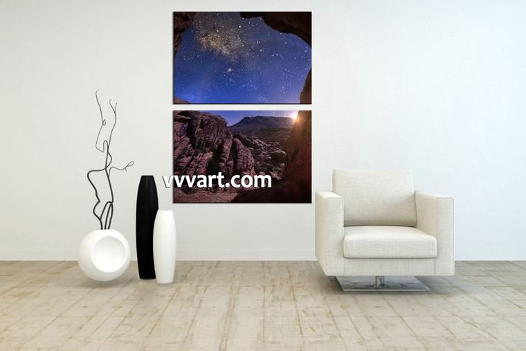 living room wall art, 2 Piece Wall Art, sunrise multi panel art, scenery wall art, mountain huge pictures