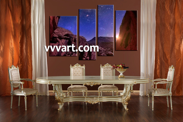 dining room art, 4 piece canvas art prints,mountain canvas print, scenery group canvas, stars artwork
