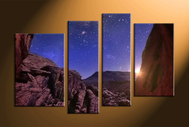 home decor,4 piece canvas art prints, mountain canvas print, stars canvas print,  scenery large canvas