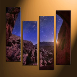 4 piece canvas art prints, landscape canvas print, stars canvas print,  scenery large canvas,home décor