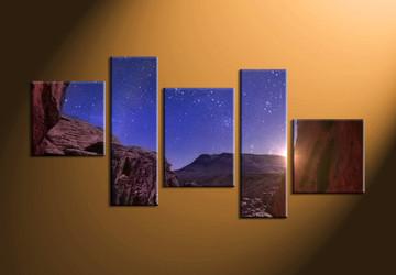 home decor, 5 Piece Wall Art, stars multi panel art, scenery canvas art, nature multi panel art