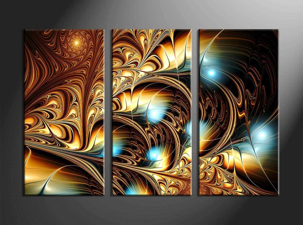 aacdf451222 3 Piece Yellow Canvas Abstract Wall Art