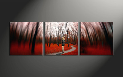 home decor,3 piece canvas art prints, forest canvas print, autumn canvas print,  scenery large canvas
