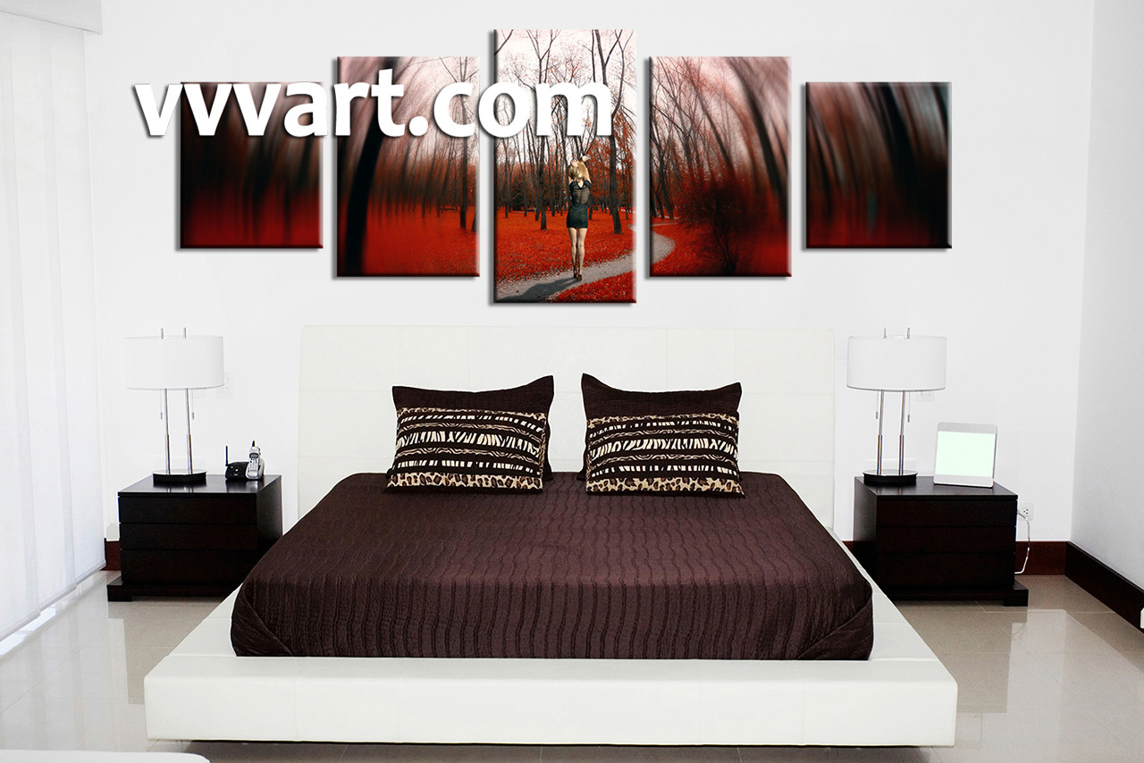 . 5 Piece Red Canvas Panoramic Art  Modern Nature Pictures