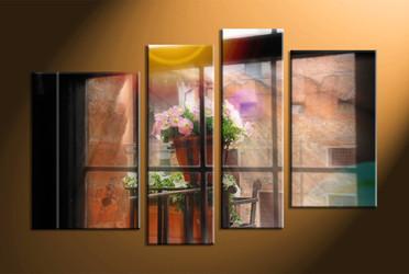 home decor,4 piece canvas art prints, window canvas print, flower pot canvas print,  scenery large canvas