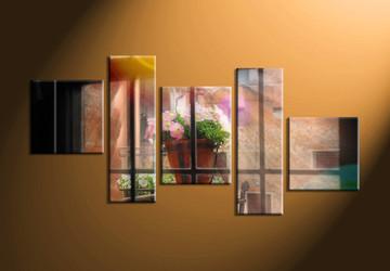 home decor, 5 piece canvas wall art, window multi panel canvas, scenery canvas art, flower pot group canvas