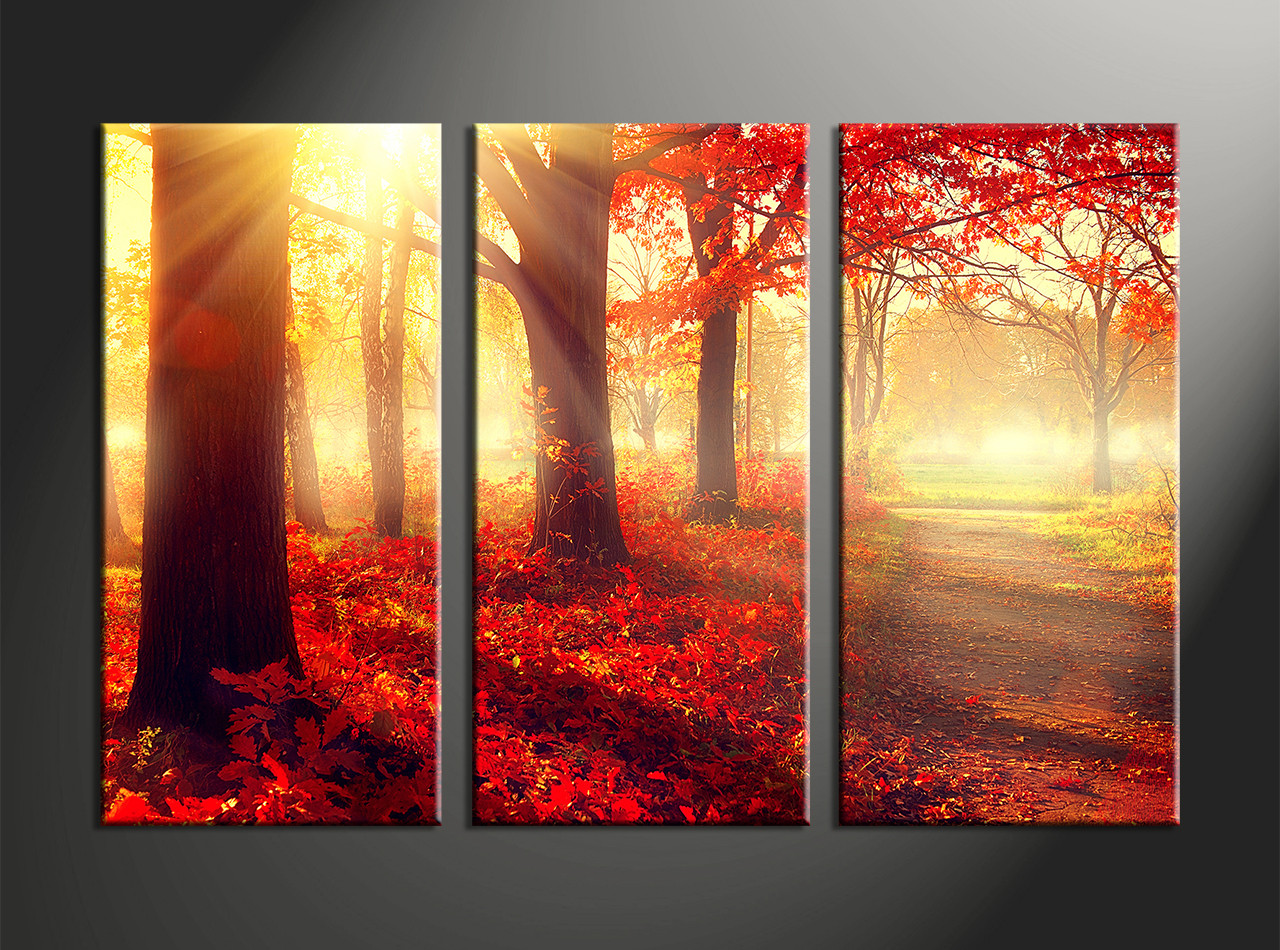 3 piece canvas printsred autumn scenery artlandscape triptych wall art