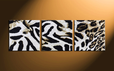 home decor, 3 piece canvas wall art, animal multi panel canvas, leopard skin canvas art, wildlife group canvas