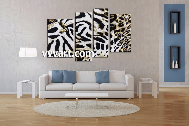 living room  Decor,4 piece canvas art prints , wildlife canvas print, animal huge pictures, leopard wall art