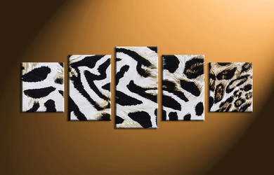 home decor, 5 Piece Wall Art, leopard skin multi panel art, scenery canvas art, animal multi panel art