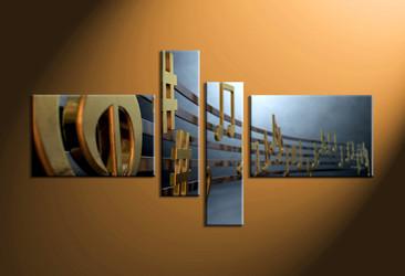 music large canvas , home decor,4 piece canvas art prints, note canvas print, golden notes canvas print