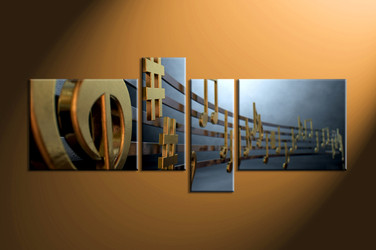 music large canvas , home decor,4 piece canvas art prints, note canvas print, golden notes canvas print