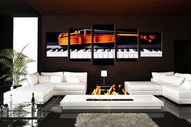 living room Wall Art, 5 Piece Wall Art, note multi panel art, golden notes wall art, music huge pictures