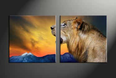 home decor, 2 piece canvas art prints, animal canvas print, lion canvas print,  wildlife large canvas
