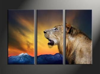 home decor, 3 piece canvas art prints, animal canvas print, lion canvas print,  wildlife multi panel canvas