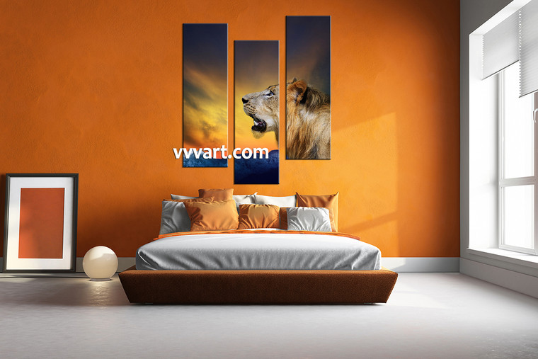 bedroom wall pictures, 3 piece canvas wall art, lion multi panel canvas, mountain huge pictures, animal group canvas