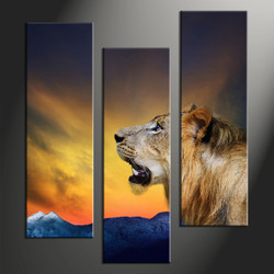 home decor, 3 piece canvas art prints, animal artwork, lion canvas print,  wildlife multi panel canvas