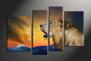 home decor, 4 piece canvas art prints, animal large canvas, lion canvas print,  wildlife multi panel canvas
