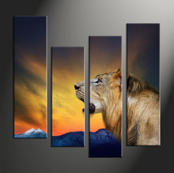home decor, 4 piece canvas art prints, animal large canvas , lion canvas print,  wildlife multi panel art
