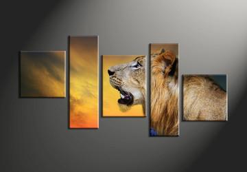 home decor, 5 piece huge pictures, animal large canvas , lion canvas print,  wildlife large canvas.