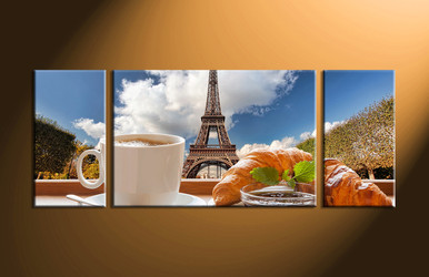tea multi panel art ,home decor, 3 Piece Wall Art, city canvas art, scenery canvas art