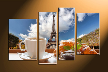 home decor,4 piece canvas art prints, tea canvas print, city canvas print,  scenery large canvas