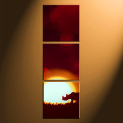 home decor, 3 Piece Wall Art, rhinoceros multi panel art, scenery canvas art, animal canvas art prints