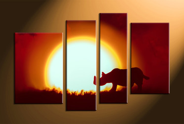 home decor, 4 Piece pictures, rhinoceros canvas wall art, scenery canvas art, animal large canvas