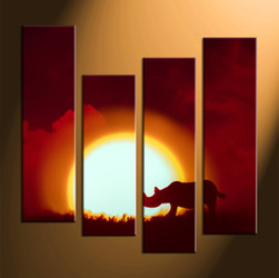 home decor, 4 Piece pictures, rhinoceros group canvas, scenery canvas art, animal large canvas